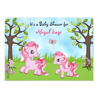 Pink Ponies Horse Baby Shower Invites ~ Girls