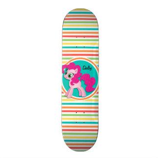 Pink Pony; Bright Rainbow Stripes 21.3 Cm Mini Skateboard Deck