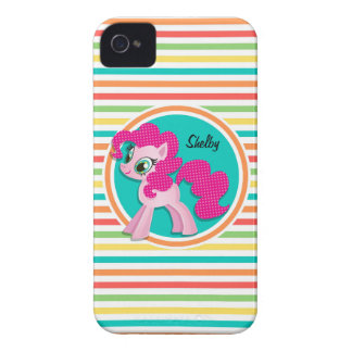 Pink Pony Bright Rainbow Stripes iPhone 4 Covers