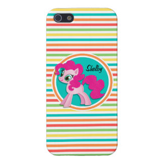 Pink Pony Bright Rainbow Stripes iPhone 5/5S Case
