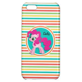 Pink Pony Bright Rainbow Stripes iPhone 5C Case