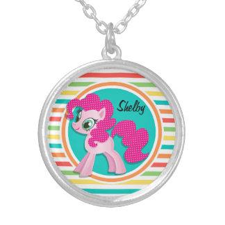 Pink Pony Bright Rainbow Stripes Custom Necklace