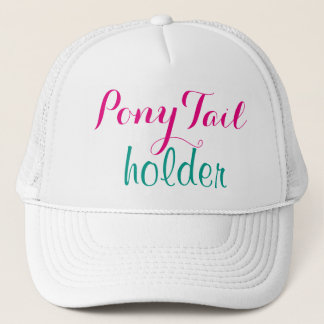 Pink Ponytail Holder Modern Calligraphy Cute Funny Trucker Hat