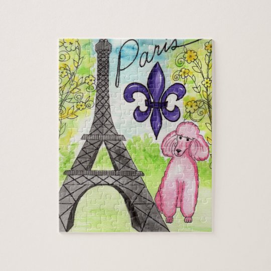 Pink Poodle in Paris Jigsaw Puzzle