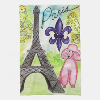 Pink Poodle in Paris Tea Towel
