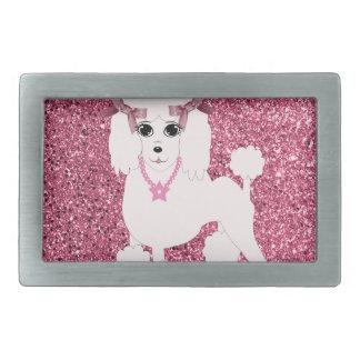 Pink poodle rectangular belt buckles