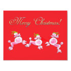 Pink Poodle Retro Merry Christmas Card  Invitation