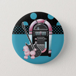 Pink Poodle Rock and Roll 6 Cm Round Badge