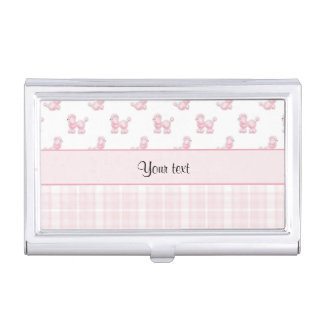 Pink Poodles & Pink Checks Business Card Holder