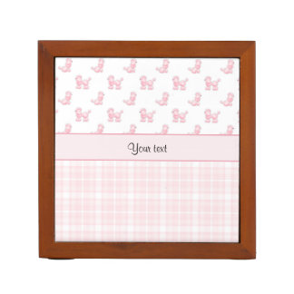 Pink Poodles & Pink Checks Desk Organiser