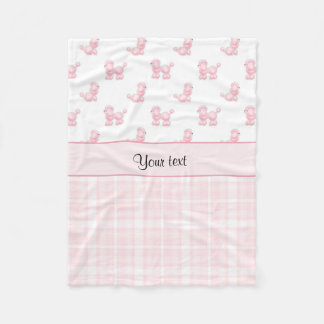 Pink Poodles & Pink Checks Fleece Blanket