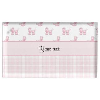 Pink Poodles & Pink Checks Table Card Holder