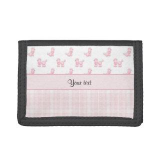 Pink Poodles & Pink Checks Tri-fold Wallet