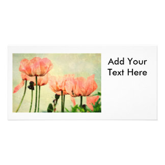 Pink Poppies and Floral Swirls Photo Card Template