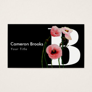 Pink Poppies & Initials Business Card