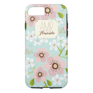 Pink Poppy Garden Floral Personalized Monogram iPhone 8/7 Case