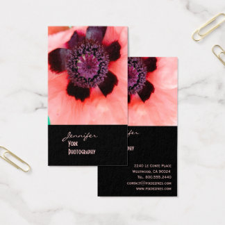Pink poppy, macro photography business card