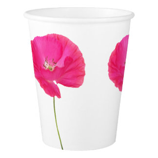 pink poppy paper cup