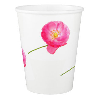 pink poppy with stem paper cup