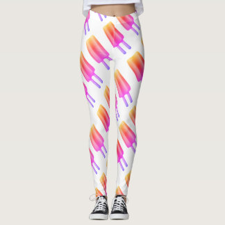pink popsicles print leggings