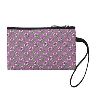 Pink Posey on Purple Coin Purse
