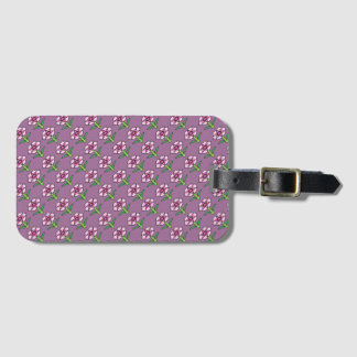 Pink Posey on Purple Luggage Tag