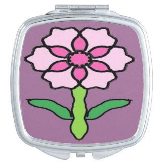 Pink Posey on Purple Makeup Mirror