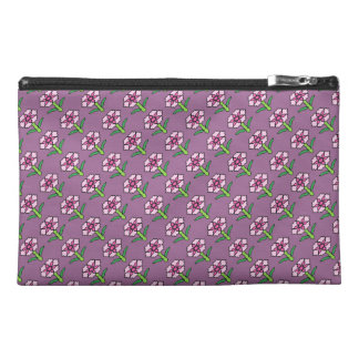 Pink Posey on Purple Travel Accessory Bag