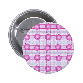 Pink Posies and Plaid Pinback Button