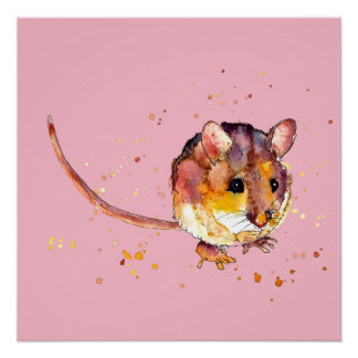 pink poster with handpainted mouse