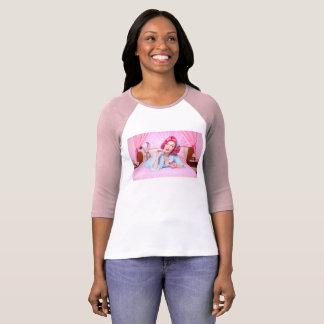 Pink Powder Puff Pinup Raglan T-shirt
