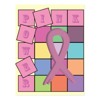 Pink Power Breast Cancer Awareness Ribbon Postcard