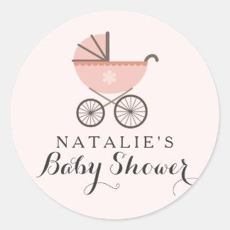 Pink Pram Baby Shower Sticker