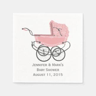 Pink Pram Custom Baby Shower Paper Napkins