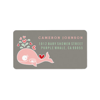 Pink Pregnant Mum Whale Baby Shower Address Labels