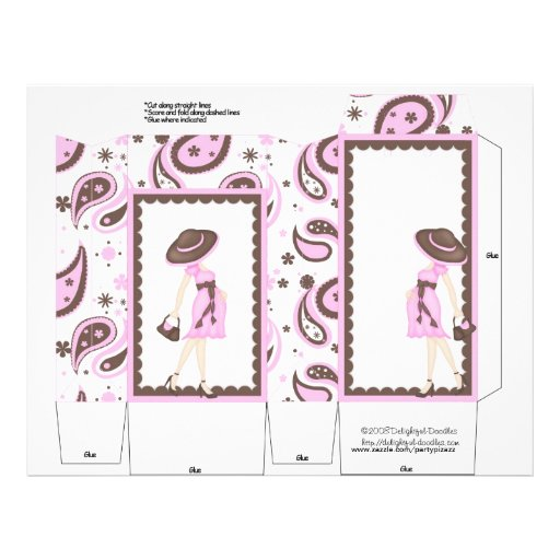 Pink Pregnant Pinch Box Party Favors.  Baby Shower Full Color Flyer