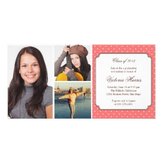 Pink preppy polka dot graduation announcement photo card template