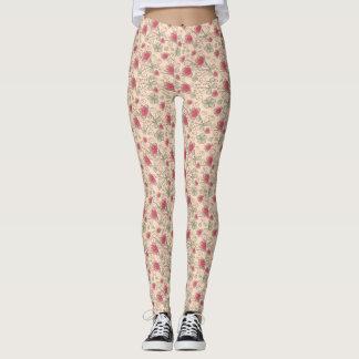 Pink Pretty Flower Swirls Pattern Custom Leggings