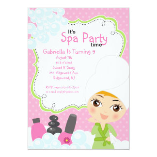 Pink Pretty Girl Spa Birthday Party 13 Cm X 18 Cm Invitation Card