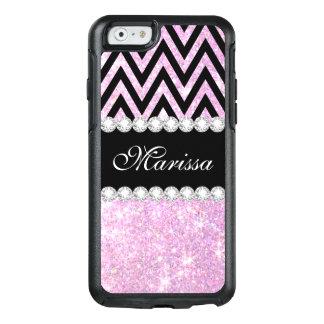 Pink Pretty Glitter Black Chevron Stripe OtterBox iPhone 6/6s Case