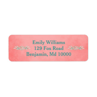 Pink Pretty Pink and Green Flowers Return Address Label
