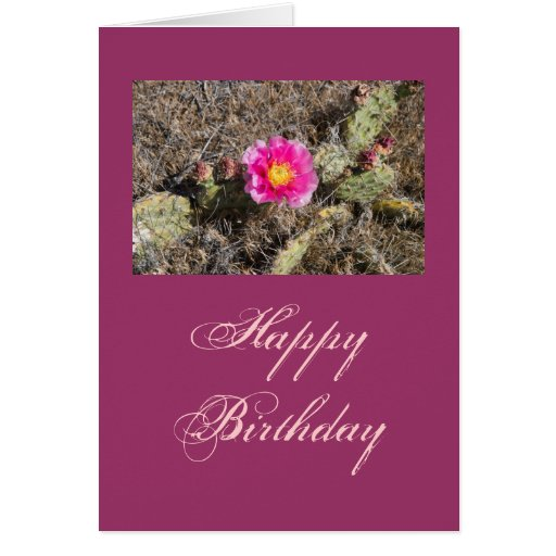 Pink Prickly Pear Flower Gift Greeting Card