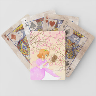 Pink Princess and squirrel with blossom Bicycle Playing Cards
