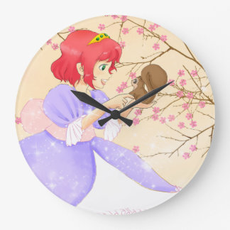 Pink Princess and squirrel with blossom kids gift Round Wallclocks