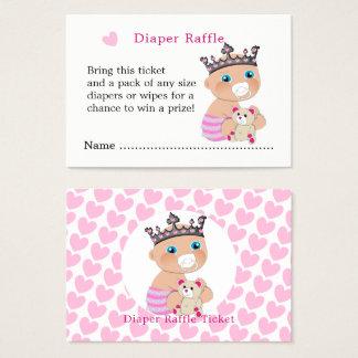 Pink Princess Baby Shower Diaper Raffle Tickets