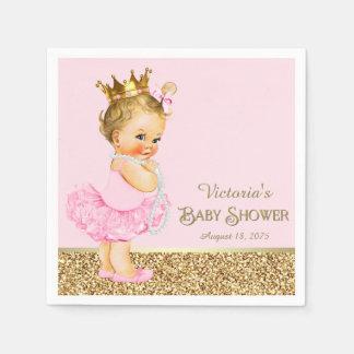 Pink Princess Ballerina Pink Gold Baby Shower Disposable Napkins