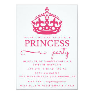 Pink Princess Birthday Party Invitations
