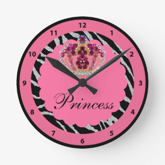 Pink Princess Bling Crown & Zebra Print Clock