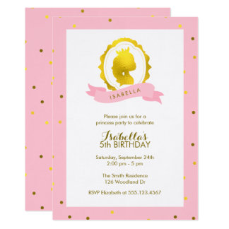 Pink Princess Cameo Girl Birthday Card