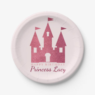 Pink Princess Castle Birthday Party 7 Inch Paper Plate